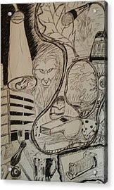 Acrylic Print featuring the drawing Weekend by Thomasina Durkay