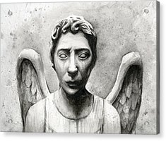 Weeping Angel Don't Blink Doctor Who Fan Art Acrylic Print by Olga Shvartsur