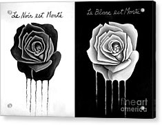 Weeping Black And White Roses Acrylic Print by Darrell Ross