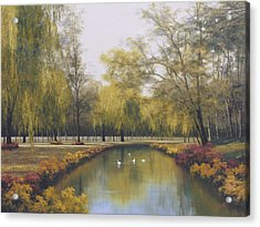 Weeping Willow Acrylic Print by Diane Romanello