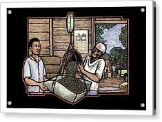 Weighing Coffee Acrylic Print by Ricardo Levins Morales