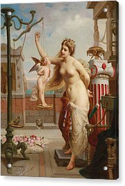 Weighing Cupid Acrylic Print by Henri Pierre Picou