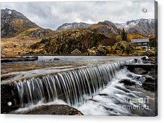 Weir At Ogwen Acrylic Print by Adrian Evans