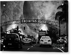 Welcome To Encinitas California 5d24221 Black And White Acrylic Print