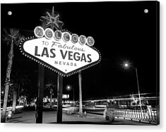 Welcome To Fabulous Las Vegas - Neon Sign In Black And White Acrylic Print