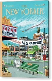 Welcome To Hellhampton Acrylic Print by Bruce McCall