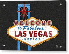 Welcome To Las Vegas Nevada Sign Recycled Vintage License Plate Art Acrylic Print by Design Turnpike