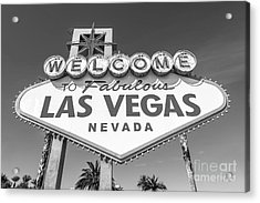 Welcome To Las Vegas Sign Black And White Acrylic Print