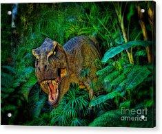 Welcome To My Park Tyrannosaurus Rex Acrylic Print by Olga Hamilton