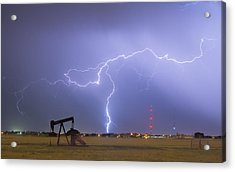Weld County Dacona Oil Fields Lightning Thunderstorm Acrylic Print by James BO  Insogna