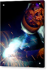 Welder On Times Square In Nyc Acrylic Print