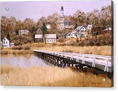 Acrylic Print featuring the painting Wellfleet Golden Morn by Karol Wyckoff