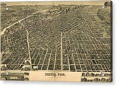 Wellge's Birdseye Map Of Denver Colorado - 1889 Acrylic Print