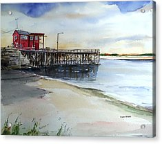 Wells Harbor Dock Acrylic Print by Scott Nelson