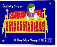 Acrylic Print featuring the digital art Welsh Snowman Bedtime  by Barbara Moignard