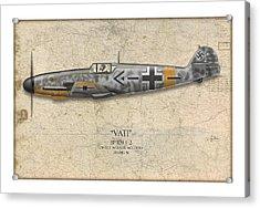 Werner Molders Messerschmitt Bf-109 - Map Background Acrylic Print by Craig Tinder