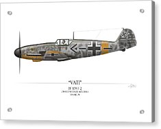 Werner Molders Messerschmitt Bf-109 - White Background Acrylic Print by Craig Tinder