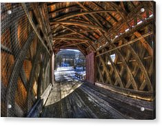 West Arlington Covered Bridge - Bennington Vermont Acrylic Print by Joann Vitali