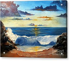 Acrylic Print featuring the painting West Coast Sunset by Lee Piper