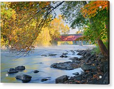 West Cornwall Covered Bridge Autumn Acrylic Print
