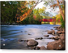 West Cornwall Covered Bridge- Autumn  Acrylic Print by Thomas Schoeller