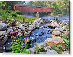 Acrylic Print featuring the photograph West Cornwall Covered Bridge Summer by Bill Wakeley