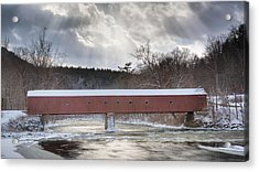 West Cornwall Covered Bridge Winter Acrylic Print by Bill Wakeley