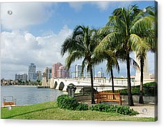West Palm Beach Cityscape Viewed Across Intracoastal Waterway Acrylic Print by NoDerog