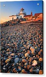 West Point Lighthouse Rocks Acrylic Print by Inge Johnsson