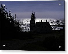 West Quoddy Head Light Station In Silhouette Acrylic Print
