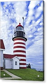 West Quoddy Head Lighthouse And Clouds Acrylic Print by Marty Saccone