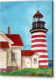 Acrylic Print featuring the painting West Quoddy Light House by Nan Wright