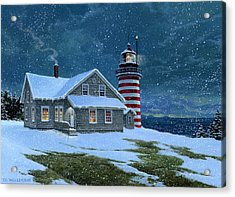 West Quoddy Lighthouse Acrylic Print by Tom Wooldridge