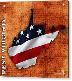 West Virginia American Flag State Map Acrylic Print by Marvin Blaine