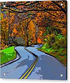 West Virginia Curves 2 Line Art Acrylic Print by Steve Harrington