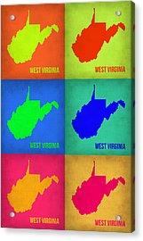 West Virginia Pop Art Map 1 Acrylic Print by Naxart Studio