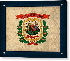 West Virginia State Flag Art On Worn Canvas Acrylic Print by Design Turnpike