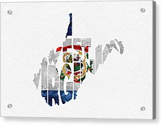 West Virginia Typographic Map Flag Acrylic Print