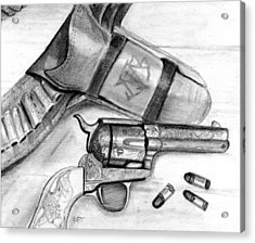 Acrylic Print featuring the drawing Western Guns by Michele Engling