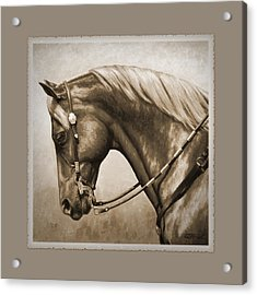 Western Horse Aged Photo Fx Sepia Pillow Acrylic Print