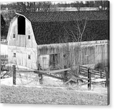 Western New York Farm 1 In Black And White Acrylic Print by Tracy Winter