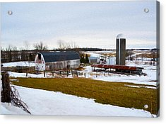 Western New York Farm As An Oil Painting Acrylic Print