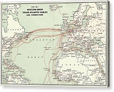 Western Union Transatlantic Cables Acrylic Print by Library Of Congress, Geography And Map Division