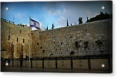 Western Wall And Israeli Flag Acrylic Print by Stephen Stookey
