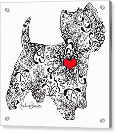 Acrylic Print featuring the drawing Westie by Melissa Sherbon