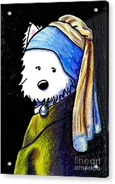 Westie With Pearl Earring Acrylic Print by Kim Niles