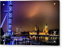 Westminster And Eye Night Glow Acrylic Print by Matt Malloy