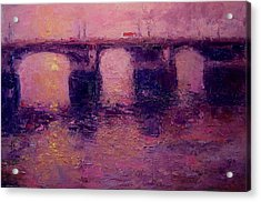 Westminster Bridge In Winter Light Acrylic Print by R W Goetting