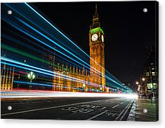 Westminster Light Trails Acrylic Print by Matt Malloy