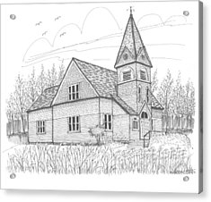 Acrylic Print featuring the drawing Westmore Community Church by Richard Wambach